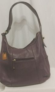 Tignanello Mauve Leather Shoulder Bag